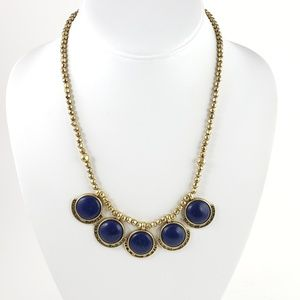 Lucky Brand Statement Necklace 5 Blue Pendants